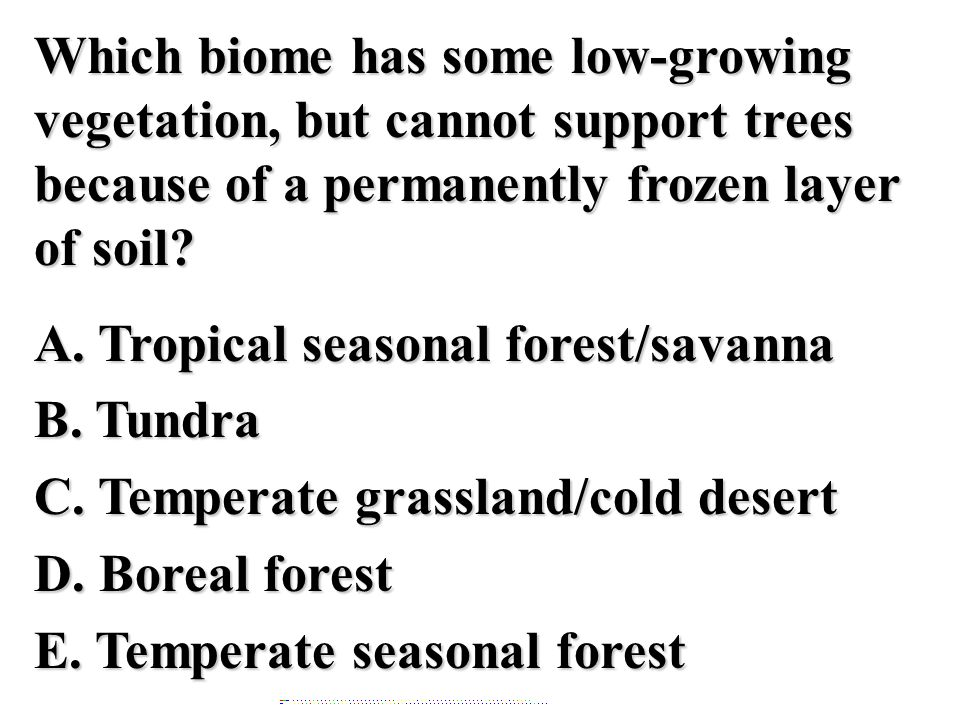 Which biome has some low-growing vegetation, but cannot support trees because of a permanently frozen layer of soil A. Tropical seasonal forest/savanna B. Tundra C. Temperate grassland/cold desert D. Boreal forest E. Temperate seasonal forest