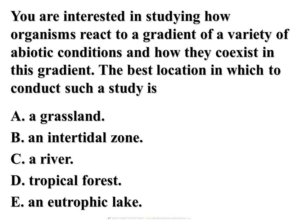 You are interested in studying how organisms react to a gradient of a variety of abiotic conditions and how they coexist in this gradient. The best location in which to conduct such a study is A. a grassland. B. an intertidal zone. C. a river. D. tropical forest. E. an eutrophic lake.