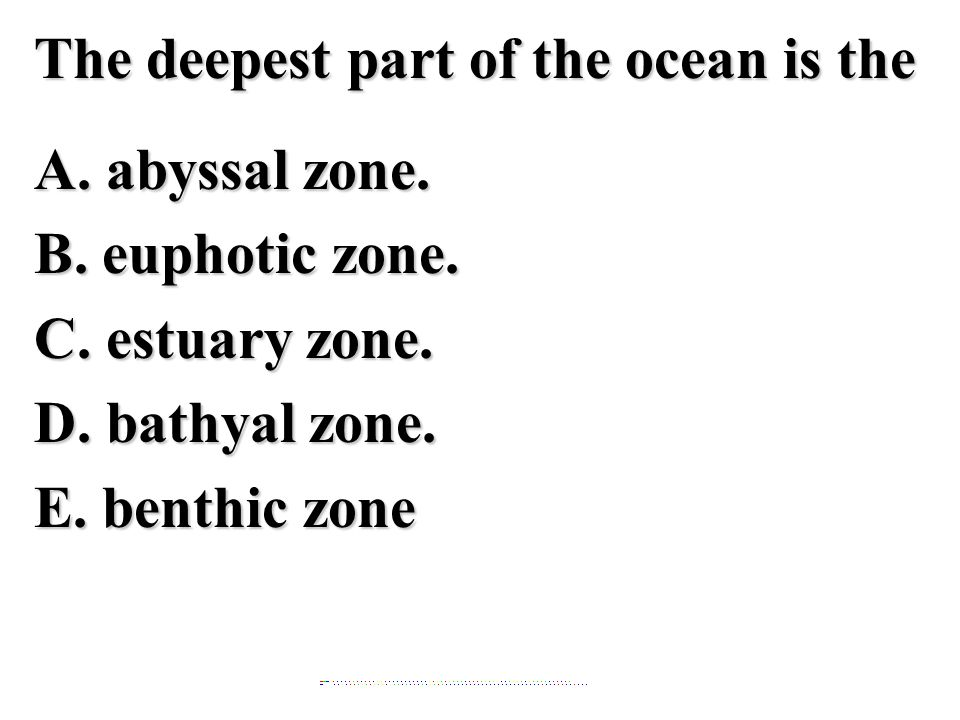 The deepest part of the ocean is the A. abyssal zone. B. euphotic zone