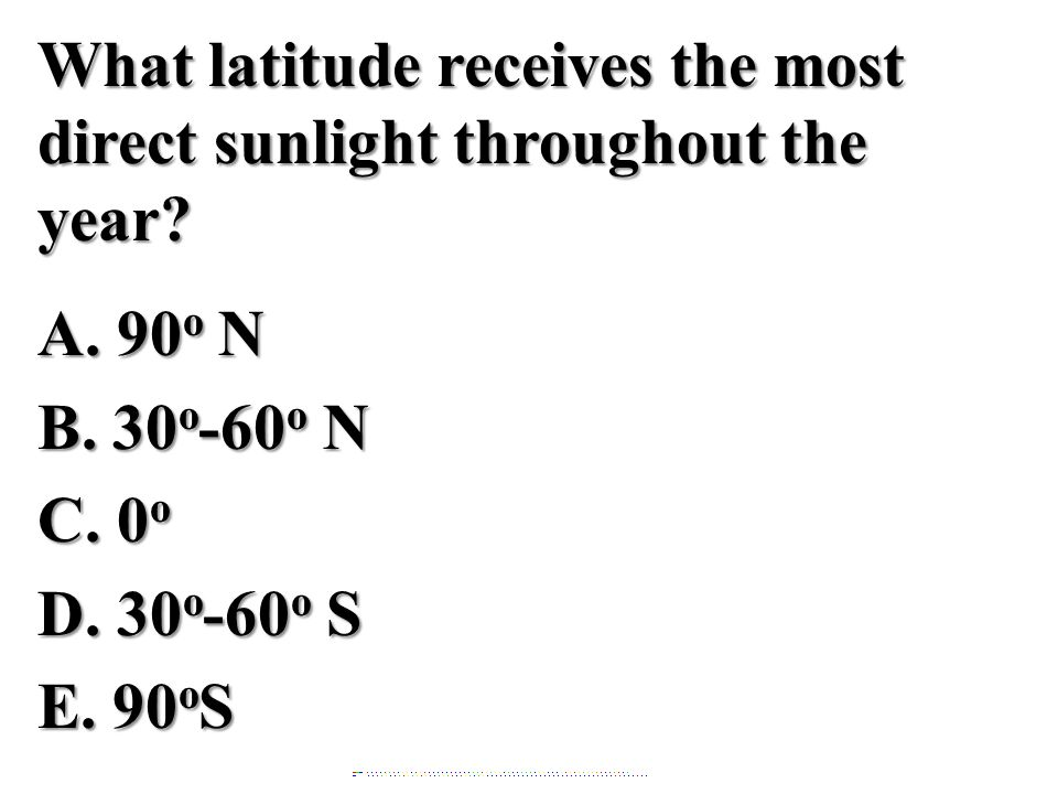 What latitude receives the most direct sunlight throughout the year. A