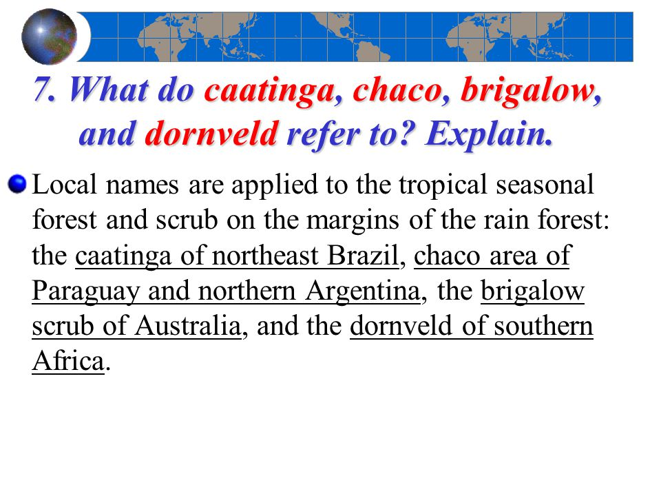 7. What do caatinga, chaco, brigalow, and dornveld refer to Explain.
