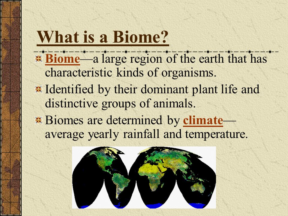 What is a Biome Biome—a large region of the earth that has characteristic kinds of organisms.