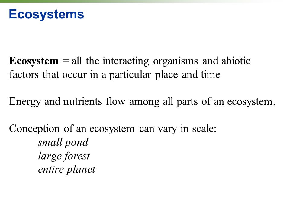 Ecosystems Ecosystem = all the interacting organisms and abiotic factors that occur in a particular place and time.