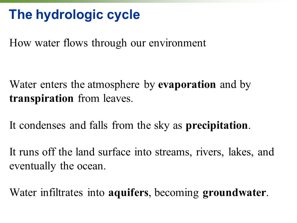The hydrologic cycle How water flows through our environment