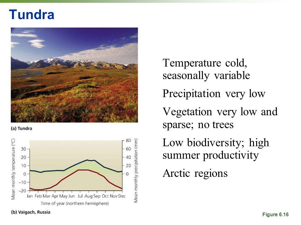 Tundra Temperature cold, seasonally variable Precipitation very low