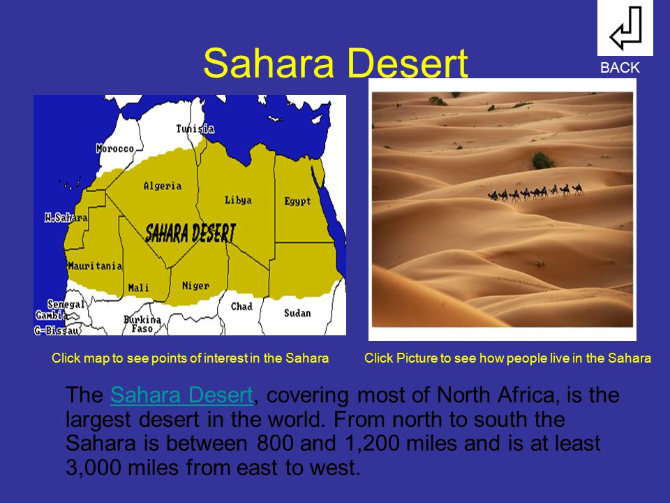 Sahara Desert BACK. Click map to see points of interest in the Sahara. Click Picture to see how people live in the Sahara.