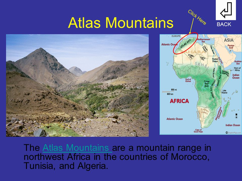 Atlas Mountains Click Here. BACK.