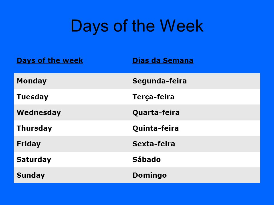 Days of the Week Days of the week Dias da Semana Monday Segunda-feira