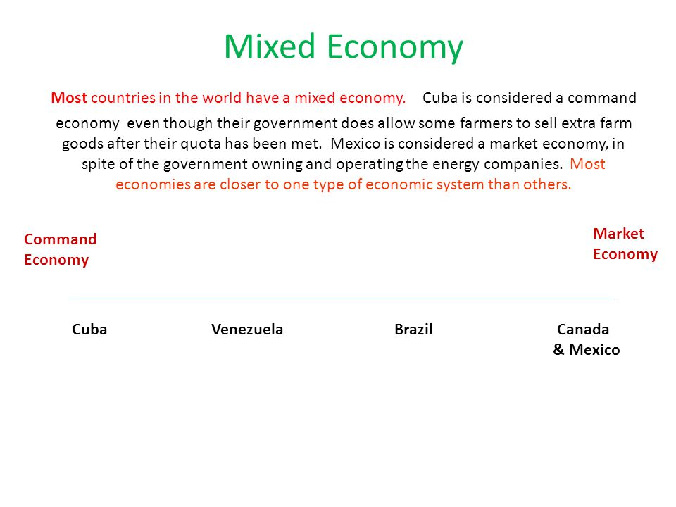 Mixed Economy Most countries in the world have a mixed economy