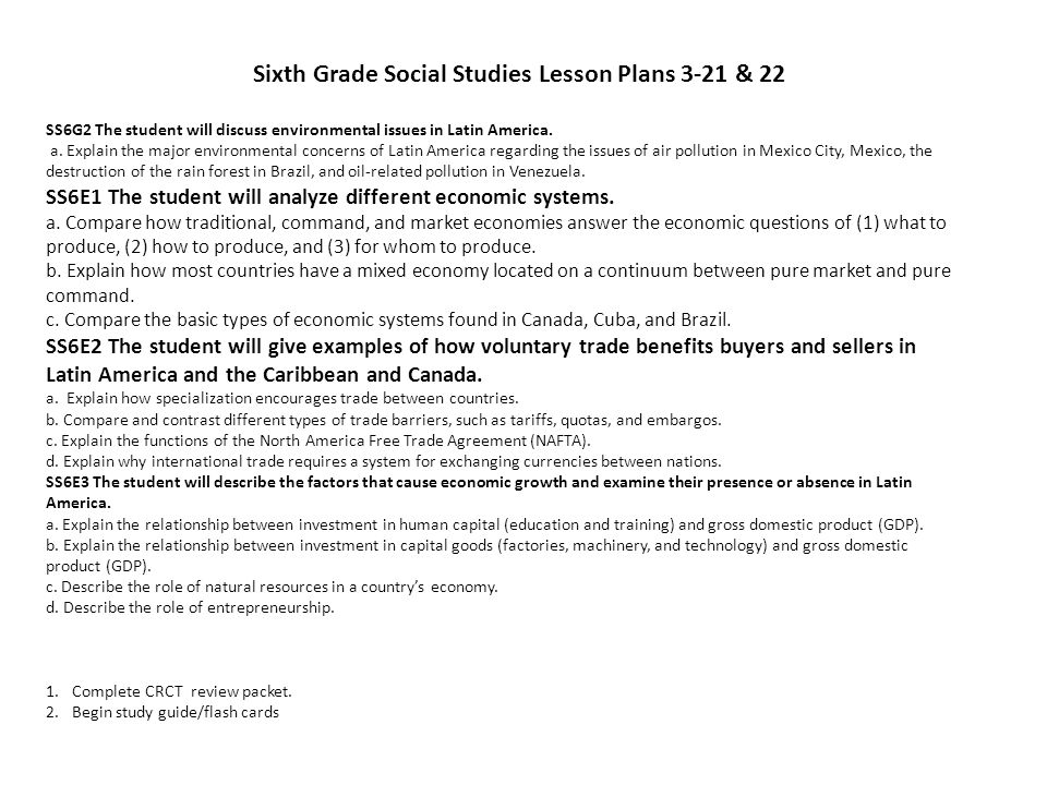 Sixth Grade Social Studies Lesson Plans 3-21 & 22