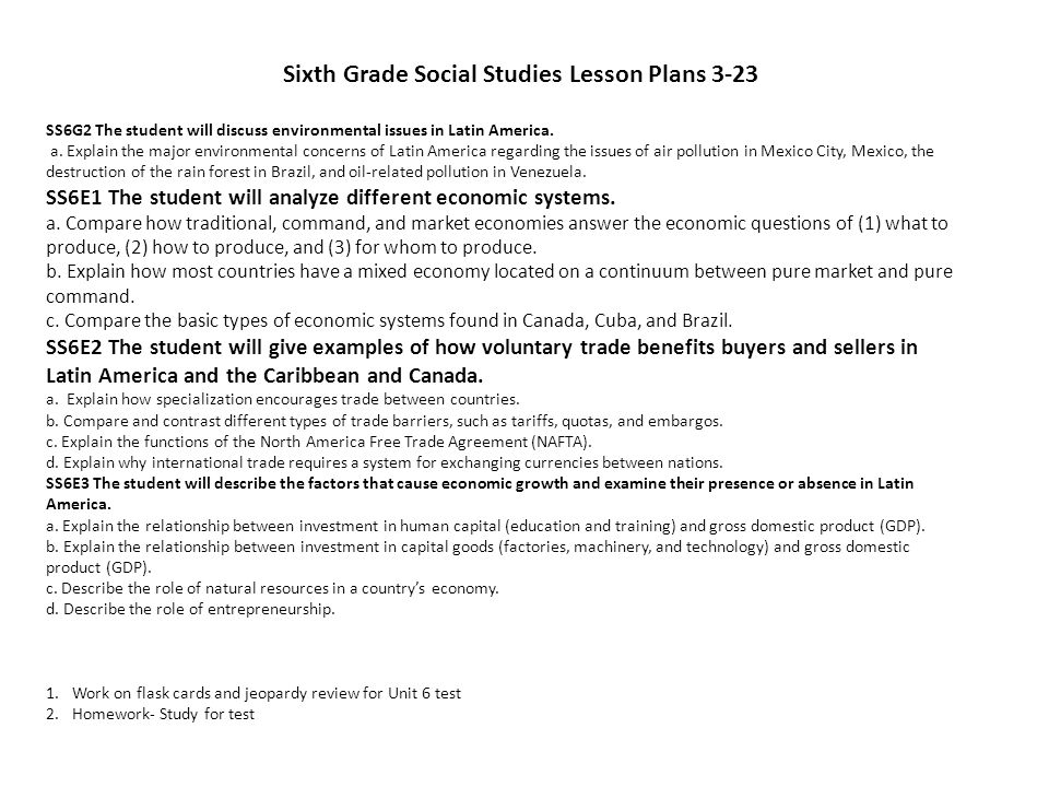 Sixth Grade Social Studies Lesson Plans 3-23
