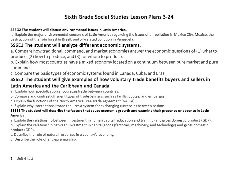 Sixth Grade Social Studies Lesson Plans 3-24