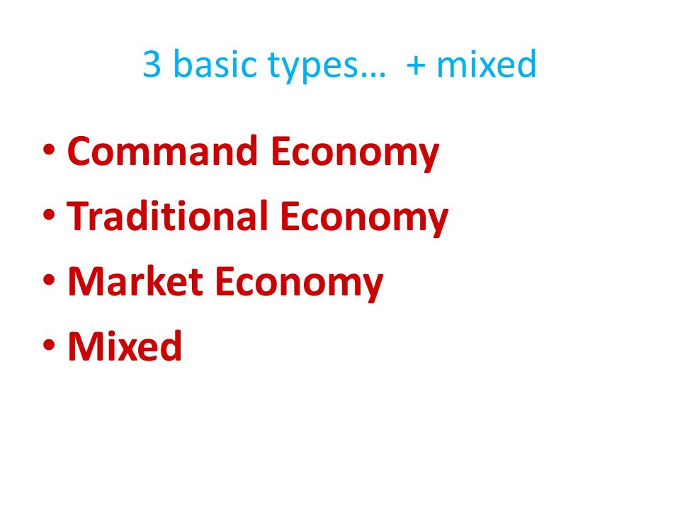 Command Economy Traditional Economy Market Economy Mixed