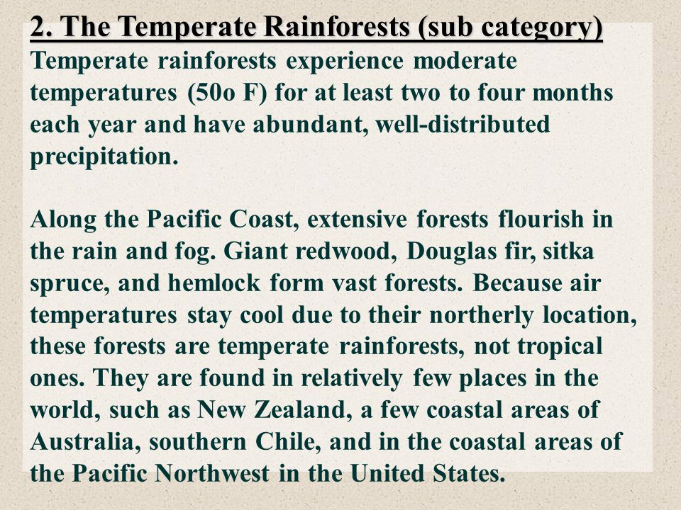 2. The Temperate Rainforests (sub category)