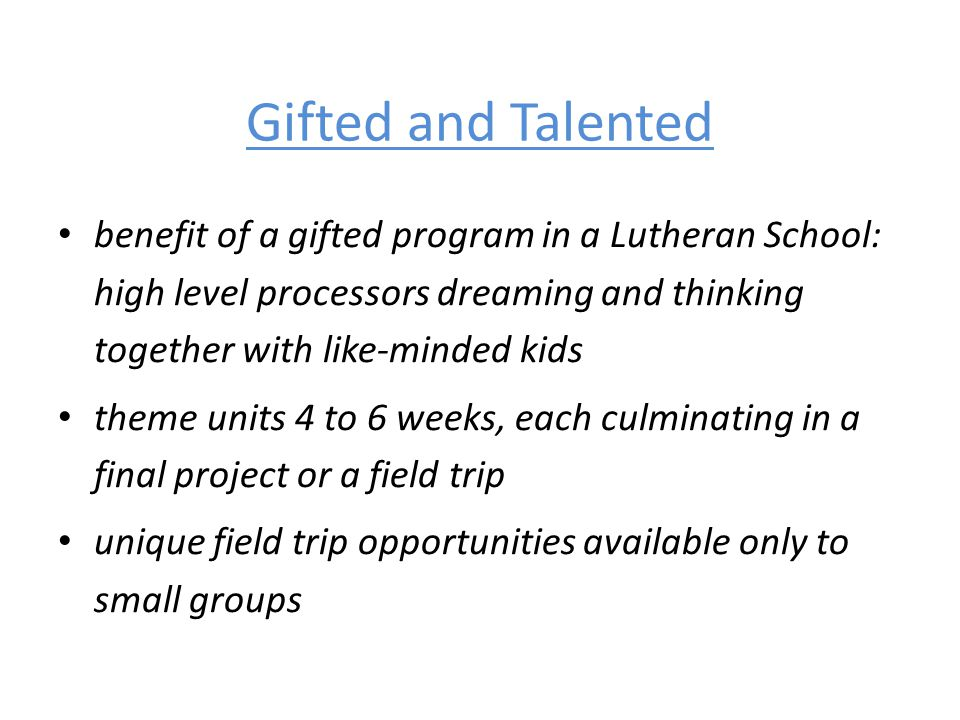 Gifted and Talented benefit of a gifted program in a Lutheran School: high level processors dreaming and thinking together with like-minded kids.