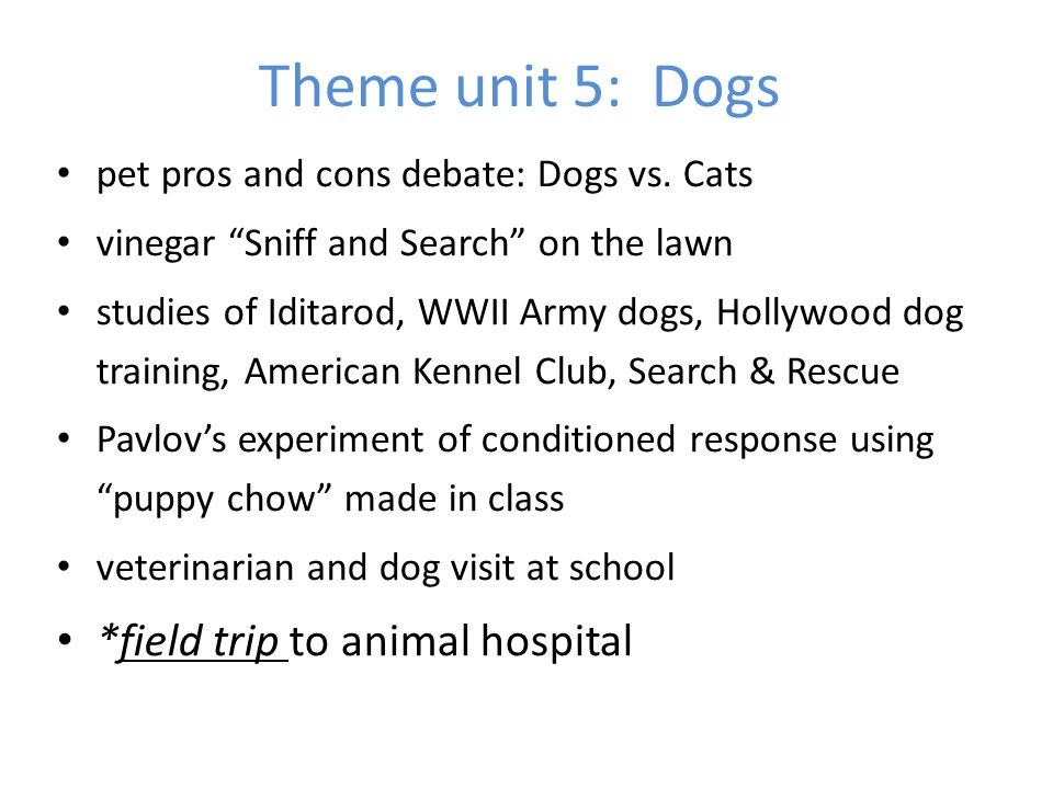 Theme unit 5: Dogs *field trip to animal hospital