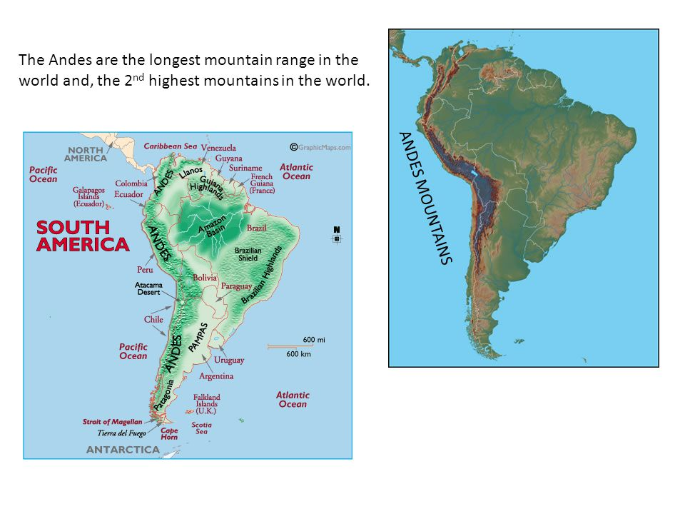 The Andes are the longest mountain range in the world and, the 2nd highest mountains in the world.