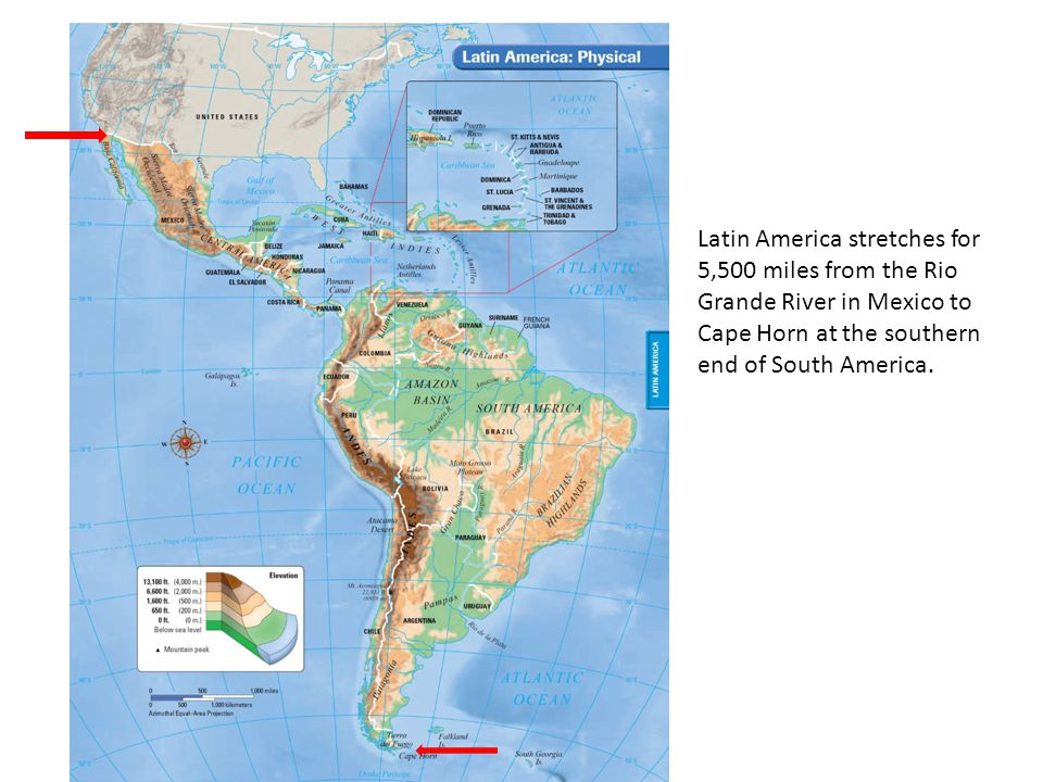 Latin America stretches for 5,500 miles from the Rio Grande River in Mexico to Cape Horn at the southern end of South America.