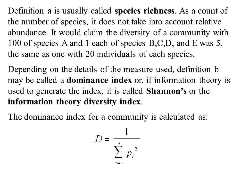 Definition a is usually called species richness