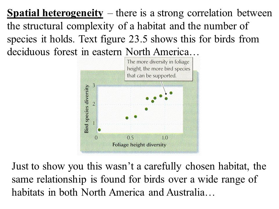 Spatial heterogeneity – there is a strong correlation between the structural complexity of a habitat and the number of species it holds. Text figure 23.5 shows this for birds from deciduous forest in eastern North America…