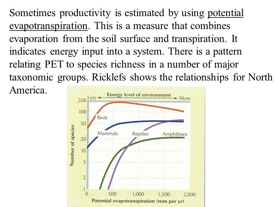 Sometimes productivity is estimated by using potential evapotranspiration.