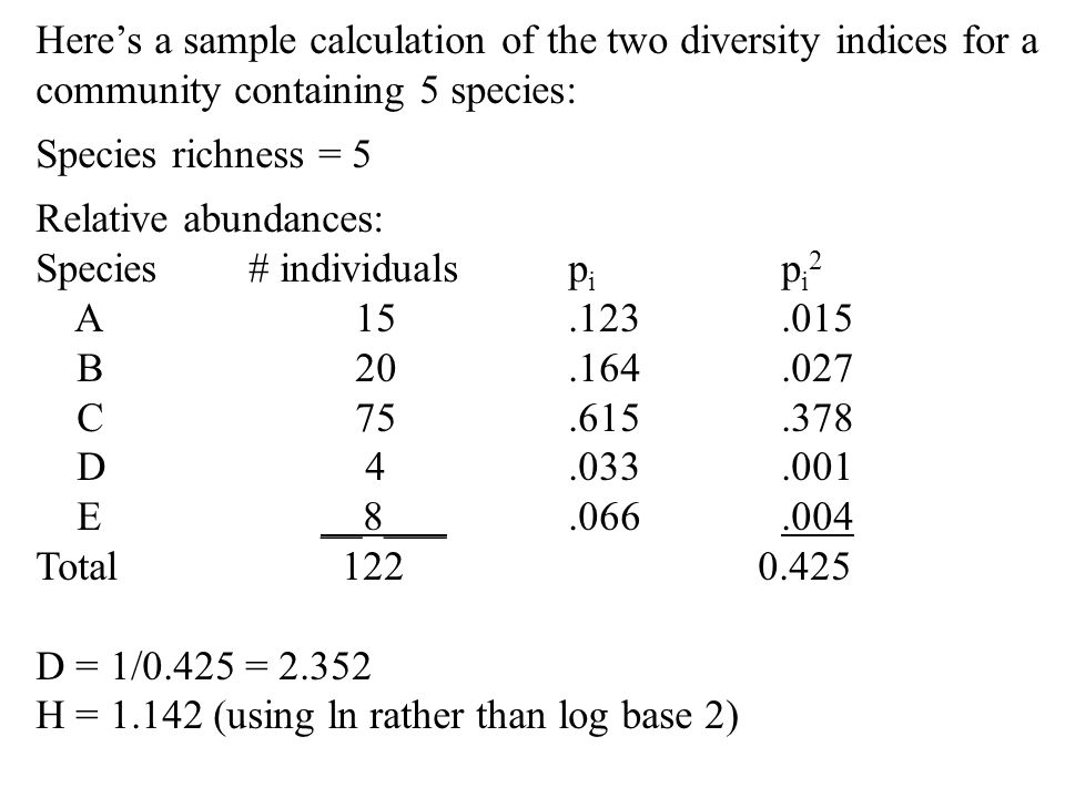 Here's a sample calculation of the two diversity indices for a community containing 5 species: