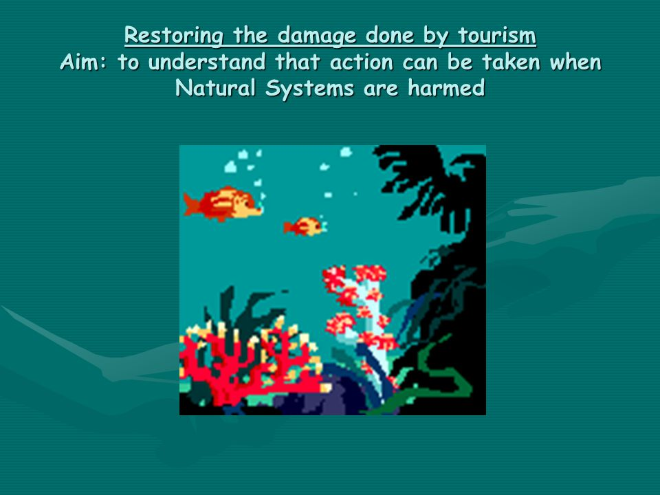 Restoring the damage done by tourism Aim: to understand that action can be taken when Natural Systems are harmed