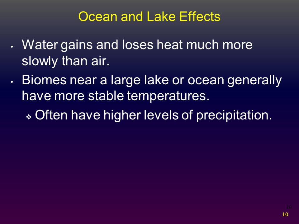 Ocean and Lake Effects Water gains and loses heat much more slowly than air.
