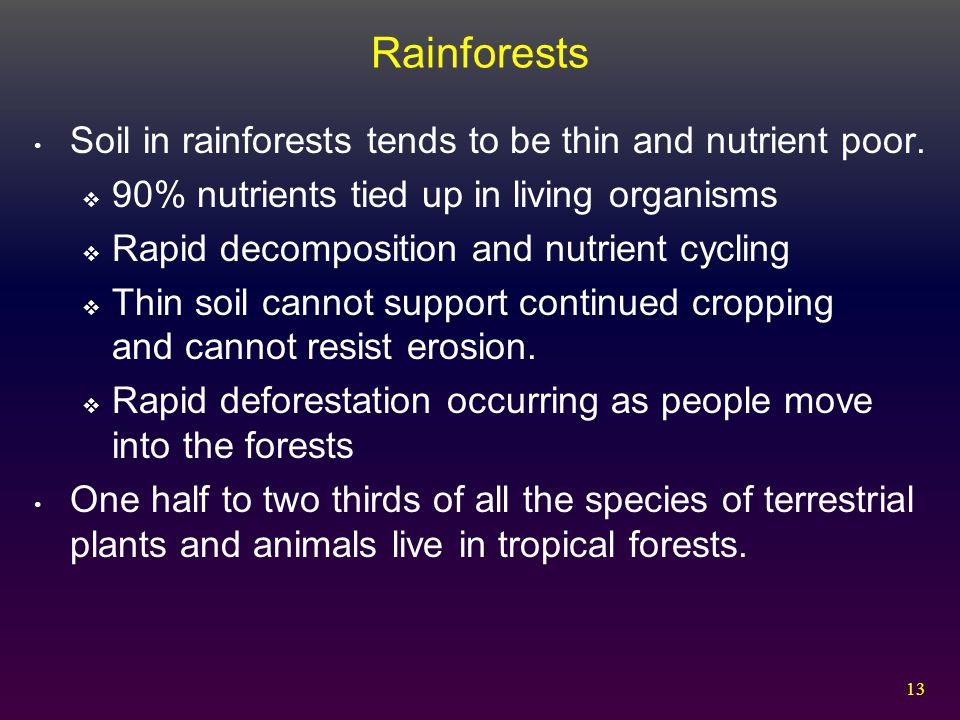 Rainforests Soil in rainforests tends to be thin and nutrient poor.