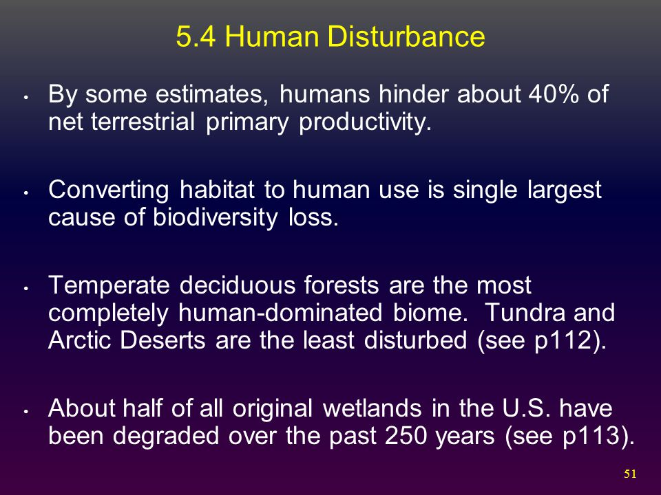 5.4 Human Disturbance By some estimates, humans hinder about 40% of net terrestrial primary productivity.
