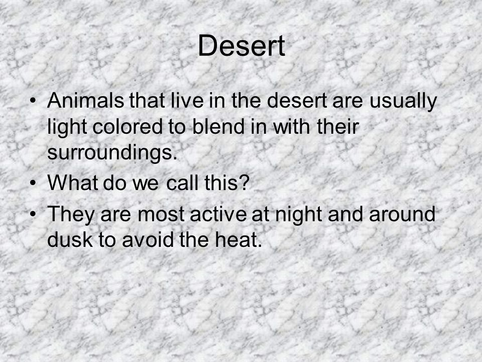 Desert Animals that live in the desert are usually light colored to blend in with their surroundings.
