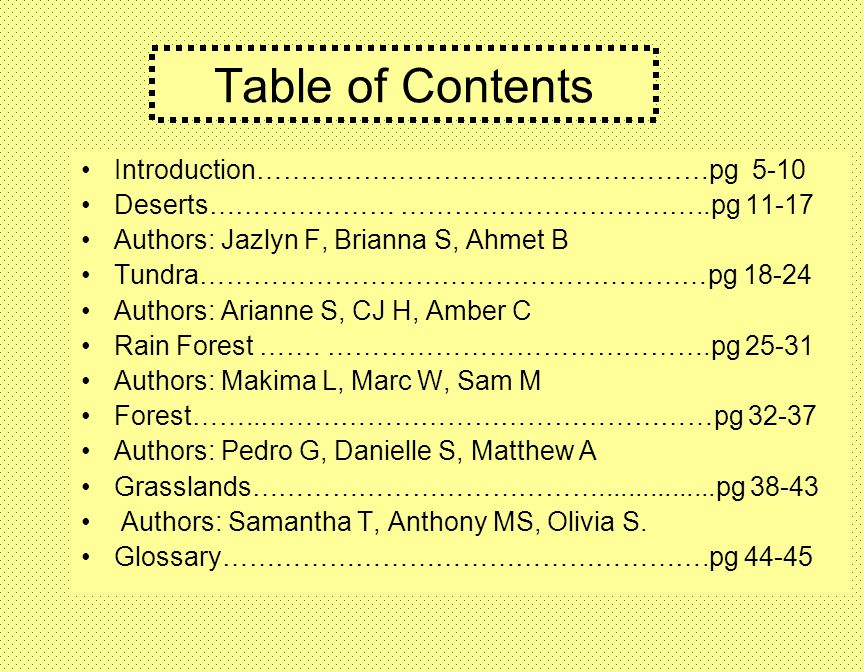 Table of Contents Introduction……………………………………………pg 5-10