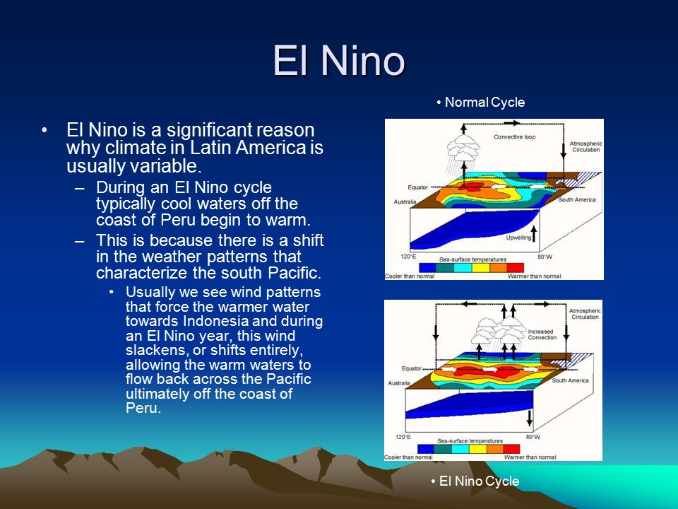 El Nino Normal Cycle. El Nino is a significant reason why climate in Latin America is usually variable.