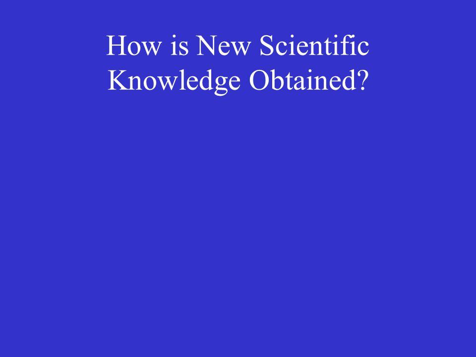 How is New Scientific Knowledge Obtained