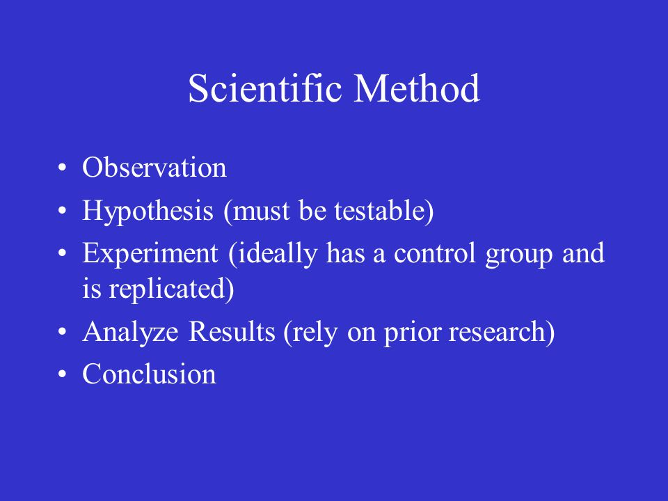 Scientific Method Observation Hypothesis (must be testable)