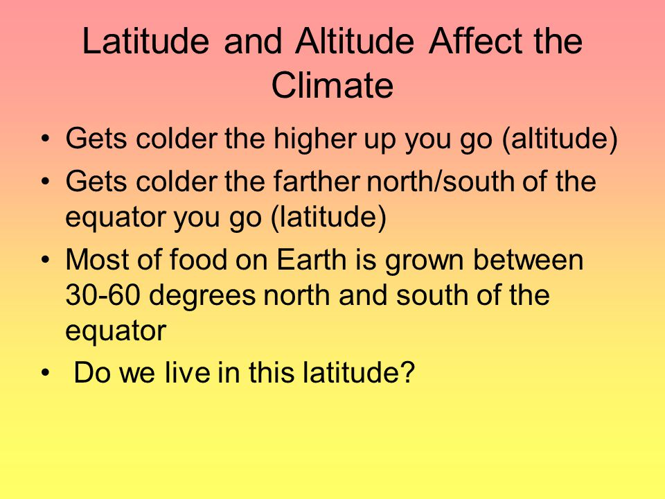 Latitude and Altitude Affect the Climate