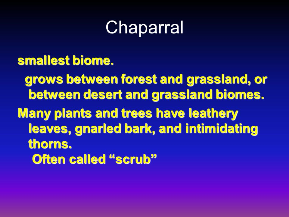 Chaparral smallest biome.