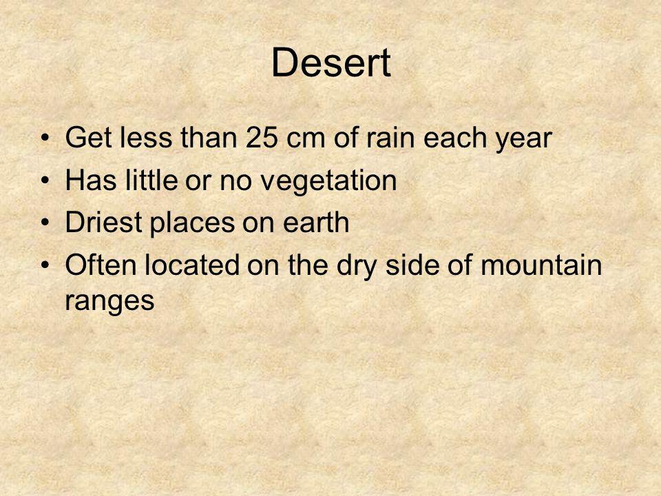 Desert Get less than 25 cm of rain each year