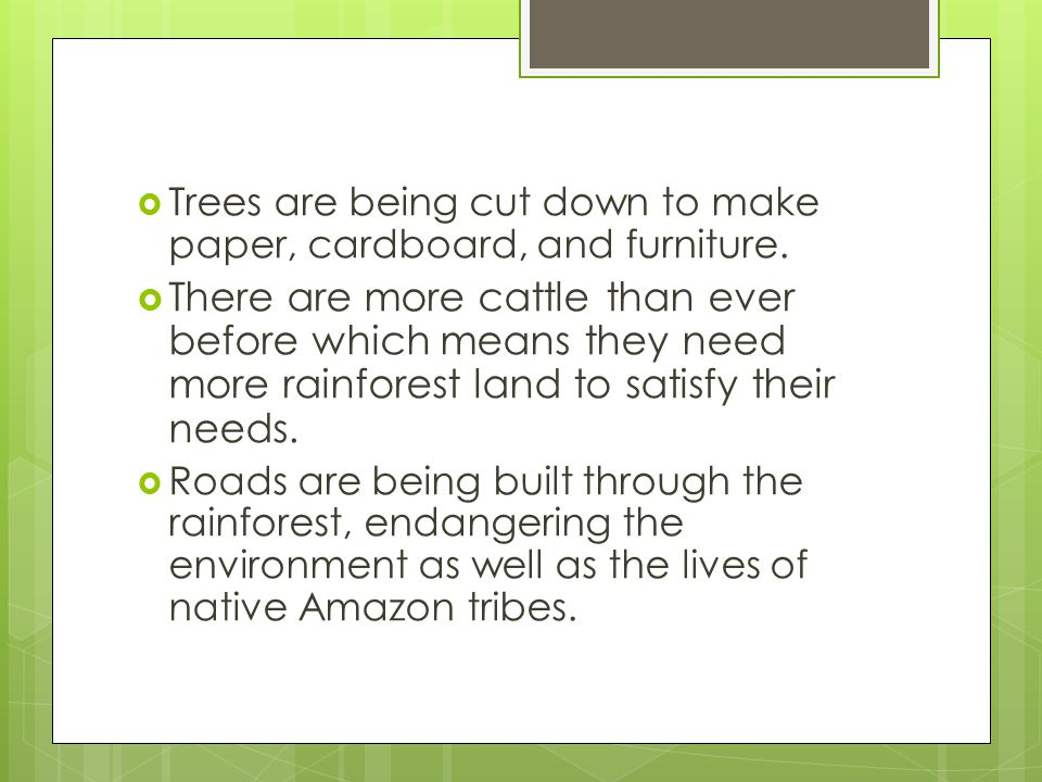 Trees are being cut down to make paper, cardboard, and furniture.