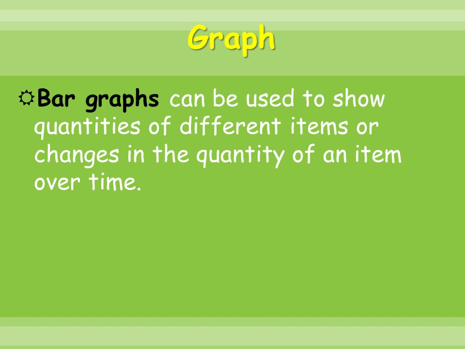 Graph Bar graphs can be used to show quantities of different items or changes in the quantity of an item over time.