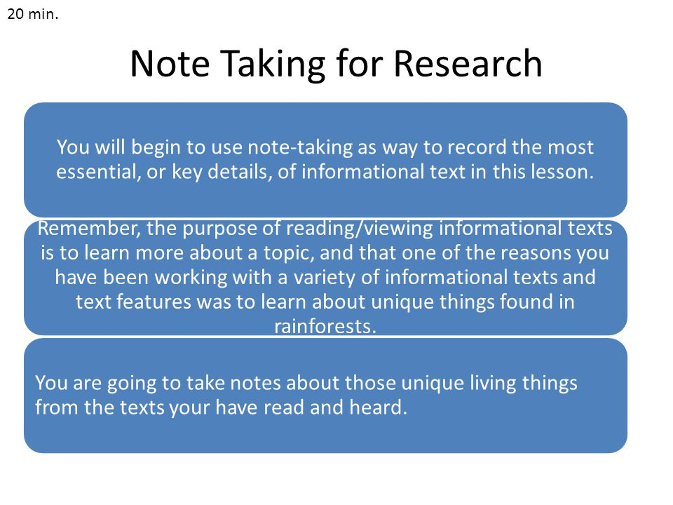 Note Taking for Research