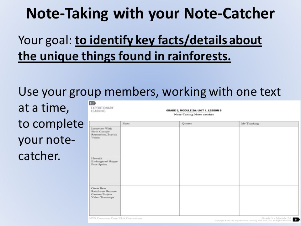 Note-Taking with your Note-Catcher