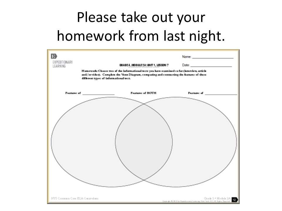 Please take out your homework from last night.