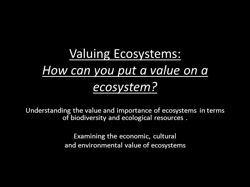 Valuing Ecosystems: How can you put a value on a ecosystem