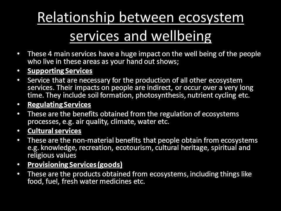 Relationship between ecosystem services and wellbeing