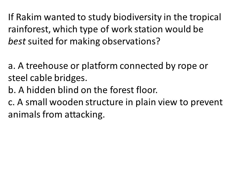 If Rakim wanted to study biodiversity in the tropical rainforest, which type of work station would be best suited for making observations