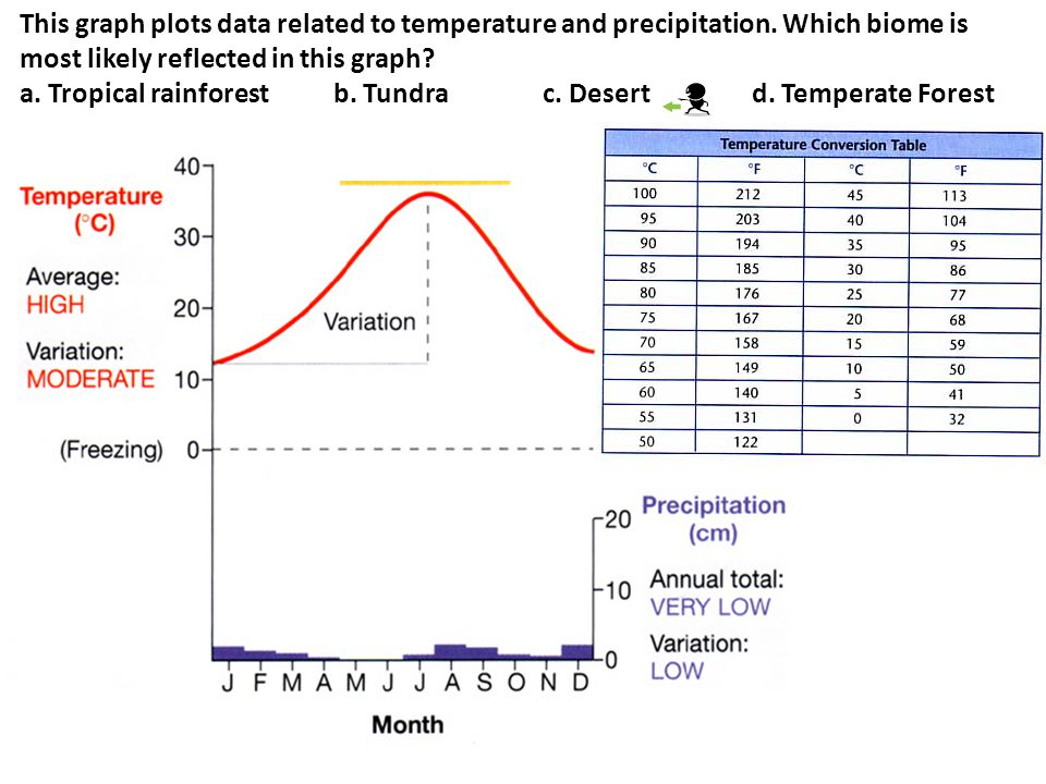 This graph plots data related to temperature and precipitation