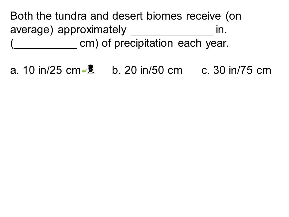 Both the tundra and desert biomes receive (on average) approximately _____________ in. (__________ cm) of precipitation each year.