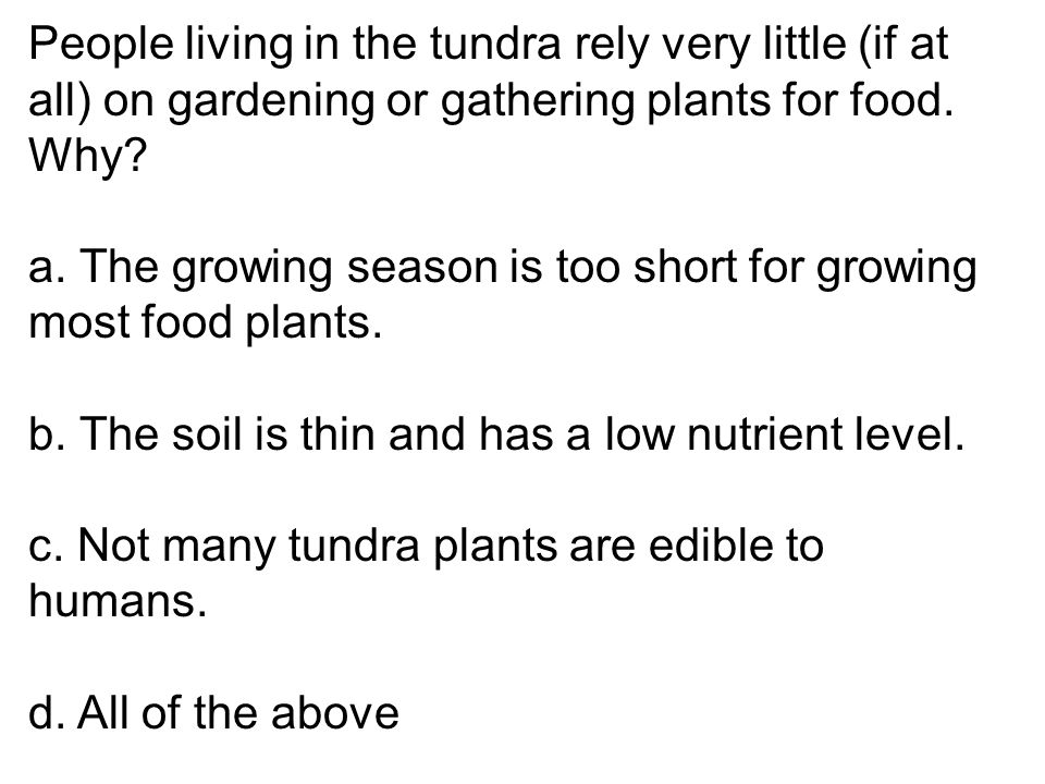 People living in the tundra rely very little (if at all) on gardening or gathering plants for food. Why