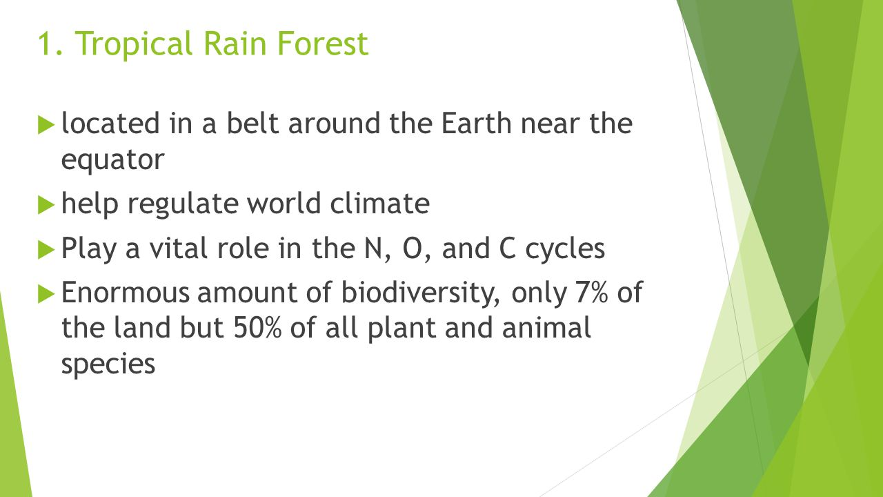 1. Tropical Rain Forest located in a belt around the Earth near the equator. help regulate world climate.